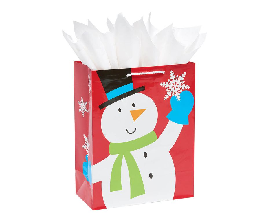 Medium Smiling Snowman Christmas Gift Bag and White Tissue Paper, 3-Sheets
