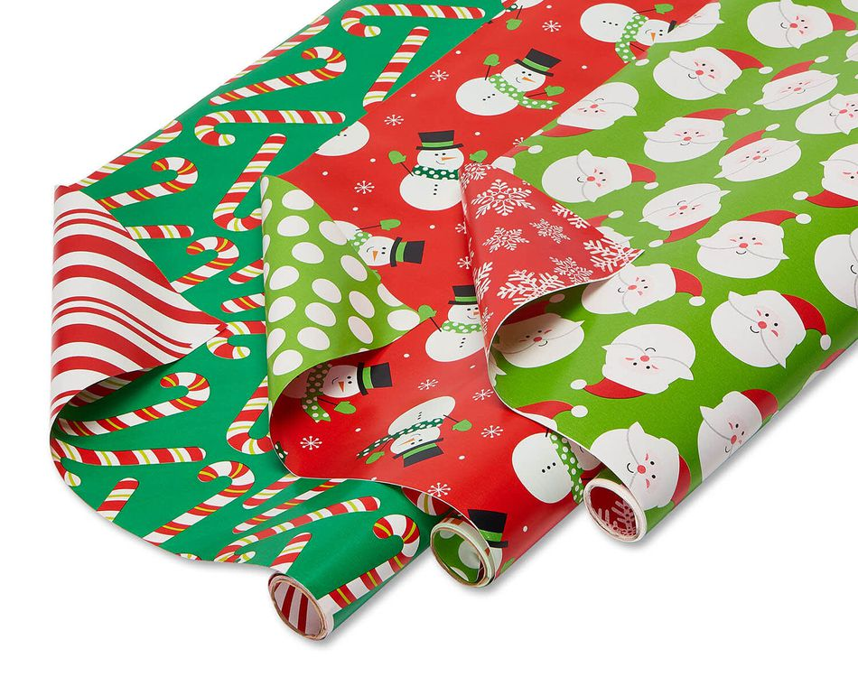 Christmas Extra-Wide Reversible Wrapping Paper, Santa, Snowmen and Candy Canes, 3-Roll, 40