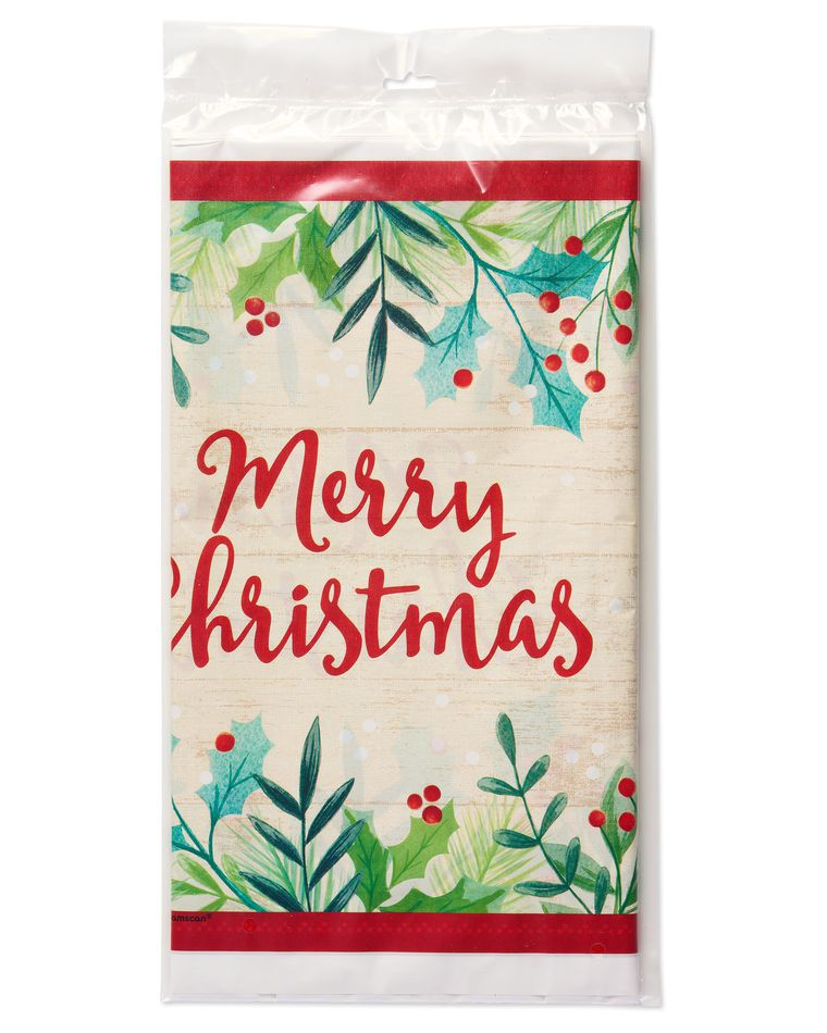 Merry Christmas Holly Plastic Table Cover
