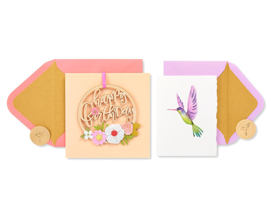 Flowers and Hummingbird Birthday Greeting Card Bundle, 2-Count