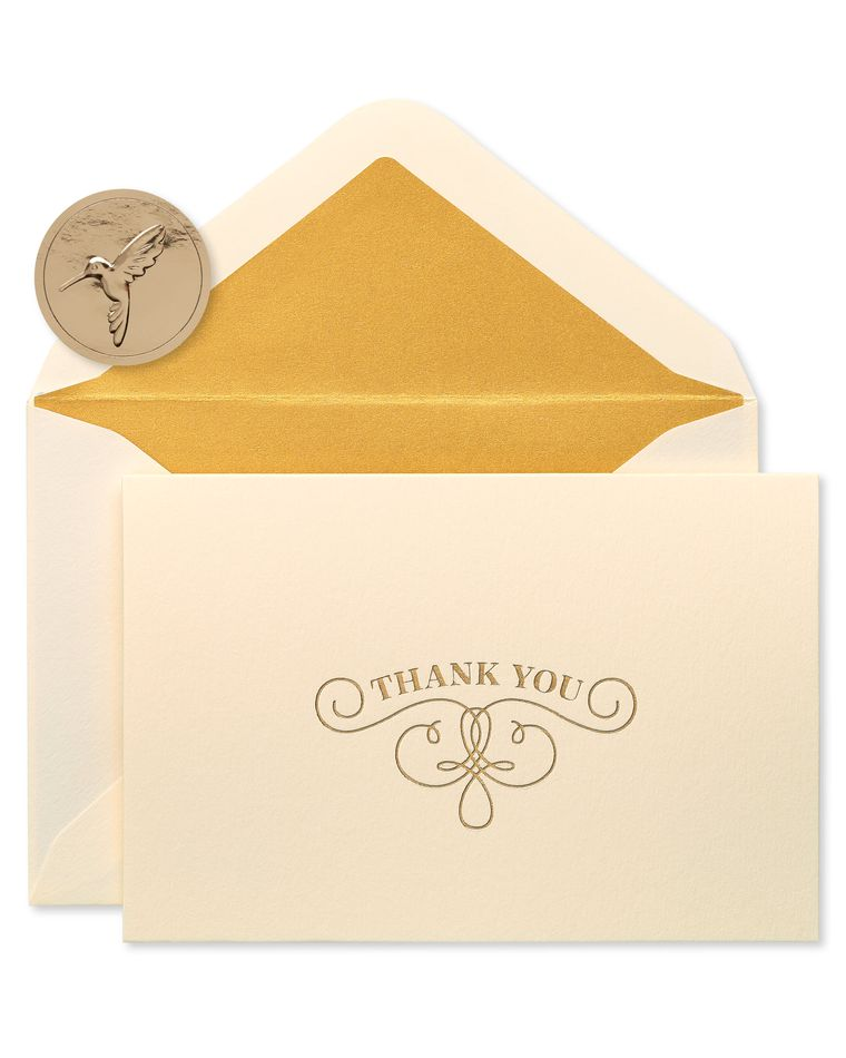 Gold Flourish Thank You Boxed Blank Note Cards and Envelopes, 16-Count