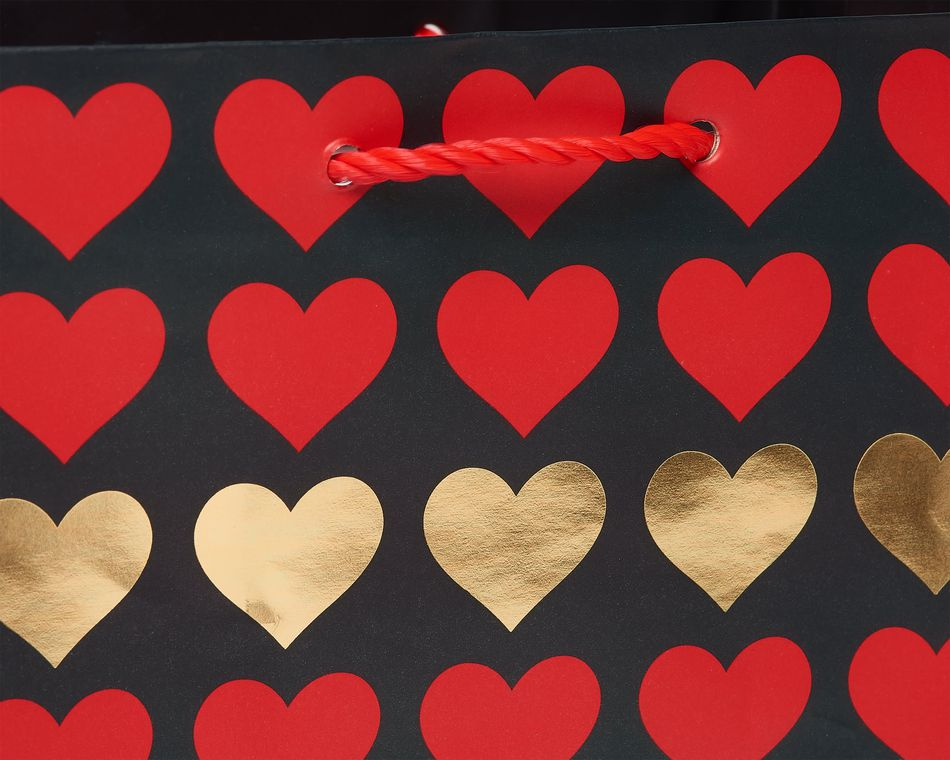 Extra-Small Gold and Red Hearts Gift Bag