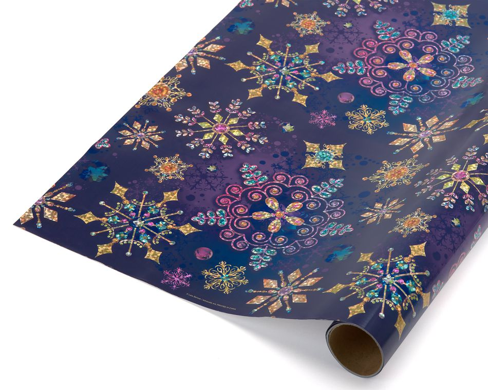 Jewel Tone Snowflakes Holiday Wrapping Paper