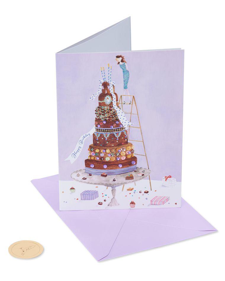 Girl on Cake Birthday Greeting Card