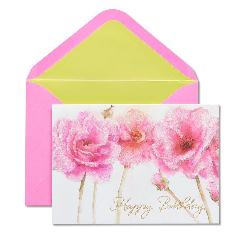 Pink Roses Birthday Greeting Card