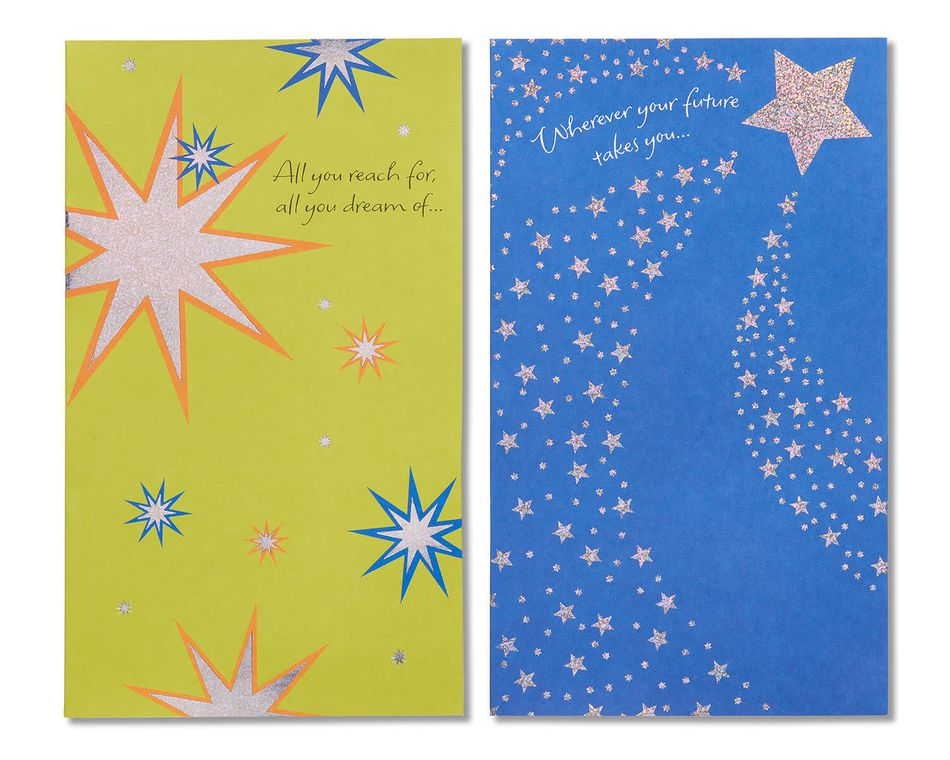 Starry Green and Blue Graduation Cards, 6-Count