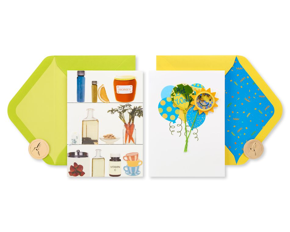 Remedies and Balloons Get Well Soon Greeting Card Bundle, 2-Count