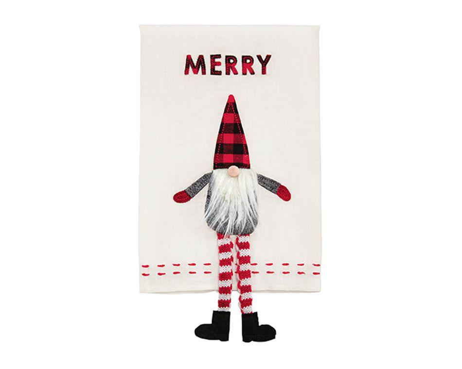 Mud Pie Merry Dangle Leg Gnome Towel