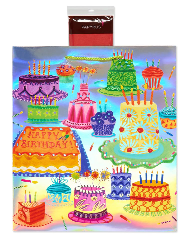 Fun Patterned Birthday Cake Jumbo Gift Bag with Scarlett Tissue Paper, 1 Gift Bag and 8 Sheets of Tissue Paper