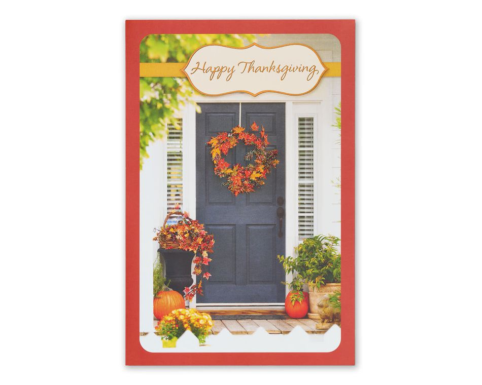 Family Friends Love Thanksgiving Card with Glitter, 6-Count