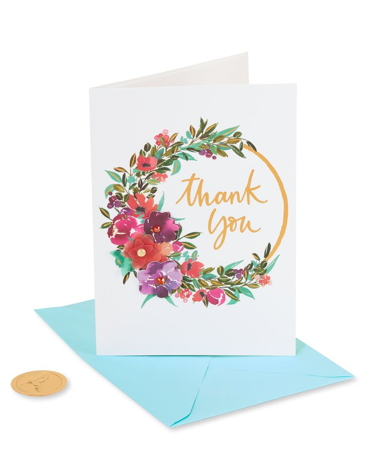 Painterly Wreath Thank You Greeting Card