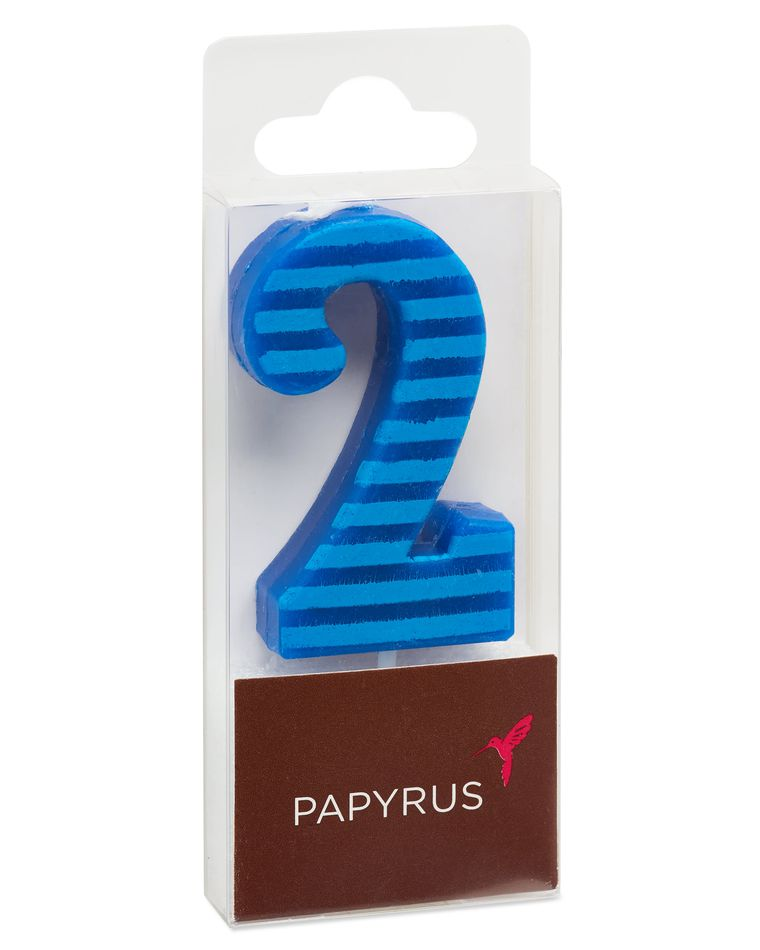 Blue Stripes Number 2 Birthday Candle, 1-Count