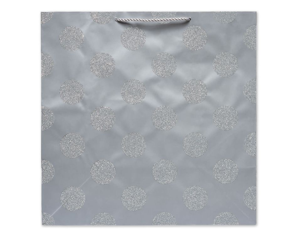 Extra-Large Gift Bag, Silver Glitter Dots