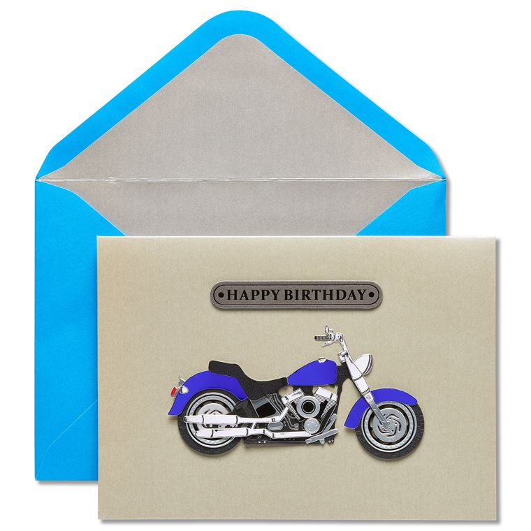 Motorcycle Guy Birthday Greeting Card