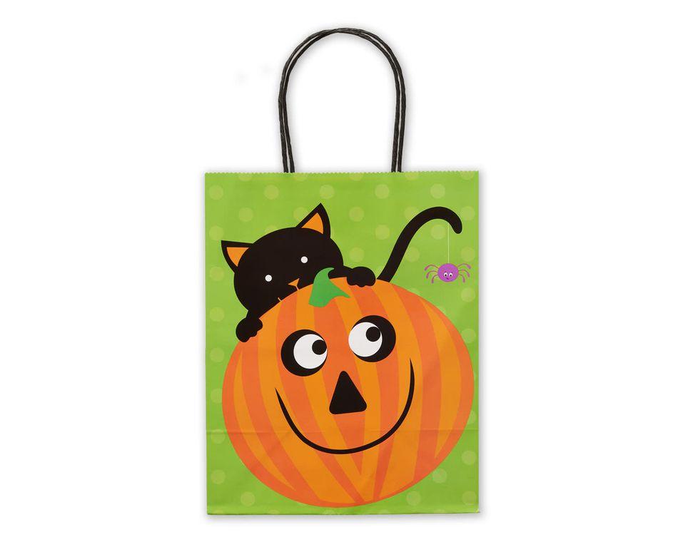 Cat with Pumpkin Halloween Gift Bag