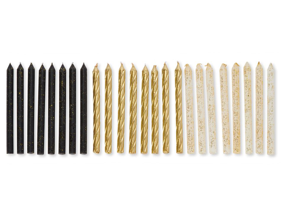 Gold Glittered Black, White and Gold Birthday Candles, 24-Count