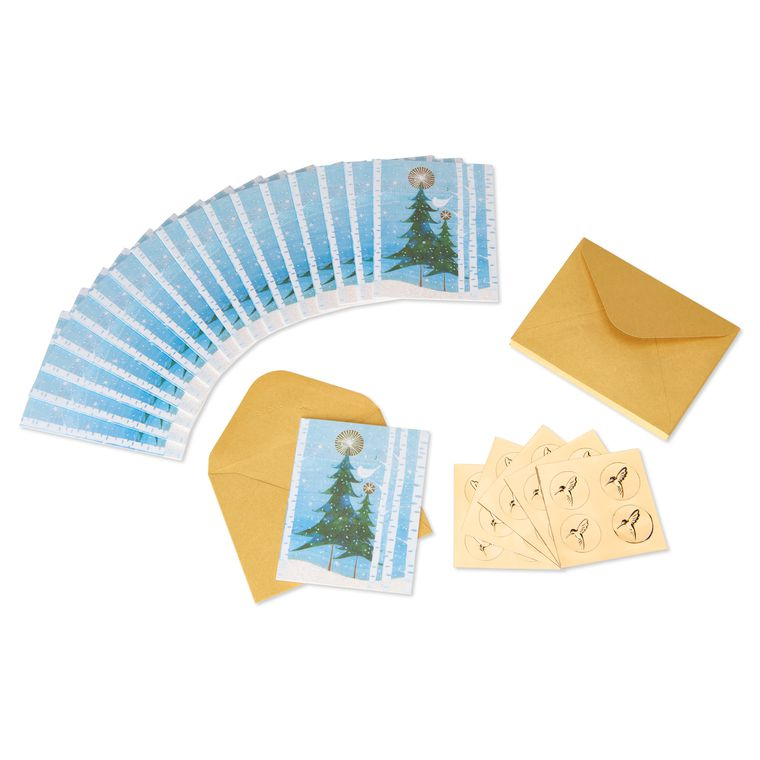 Snowbird & Tree Holiday Boxed Cards, 20-Count