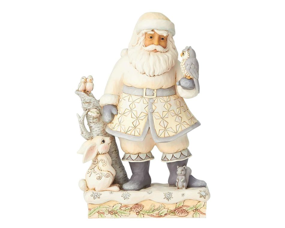 Jim Shore White Woodland Santa Claus Figurine