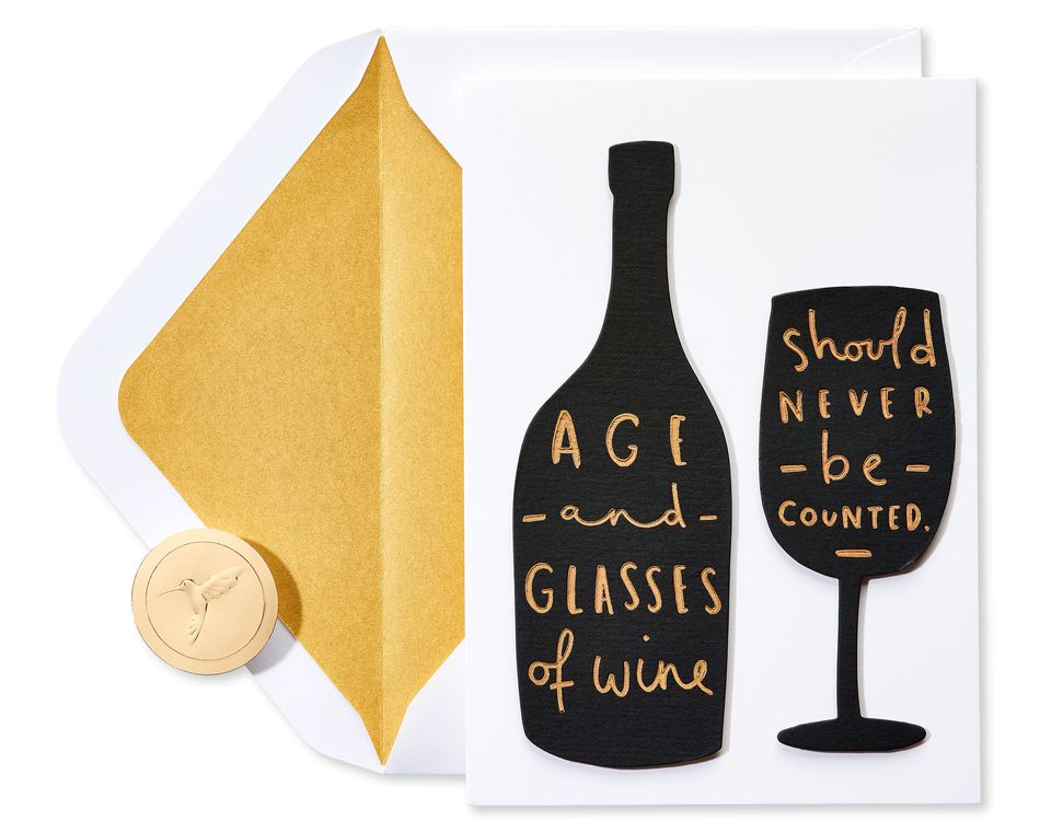 Age And Wine Quote Birthday Greeting Card