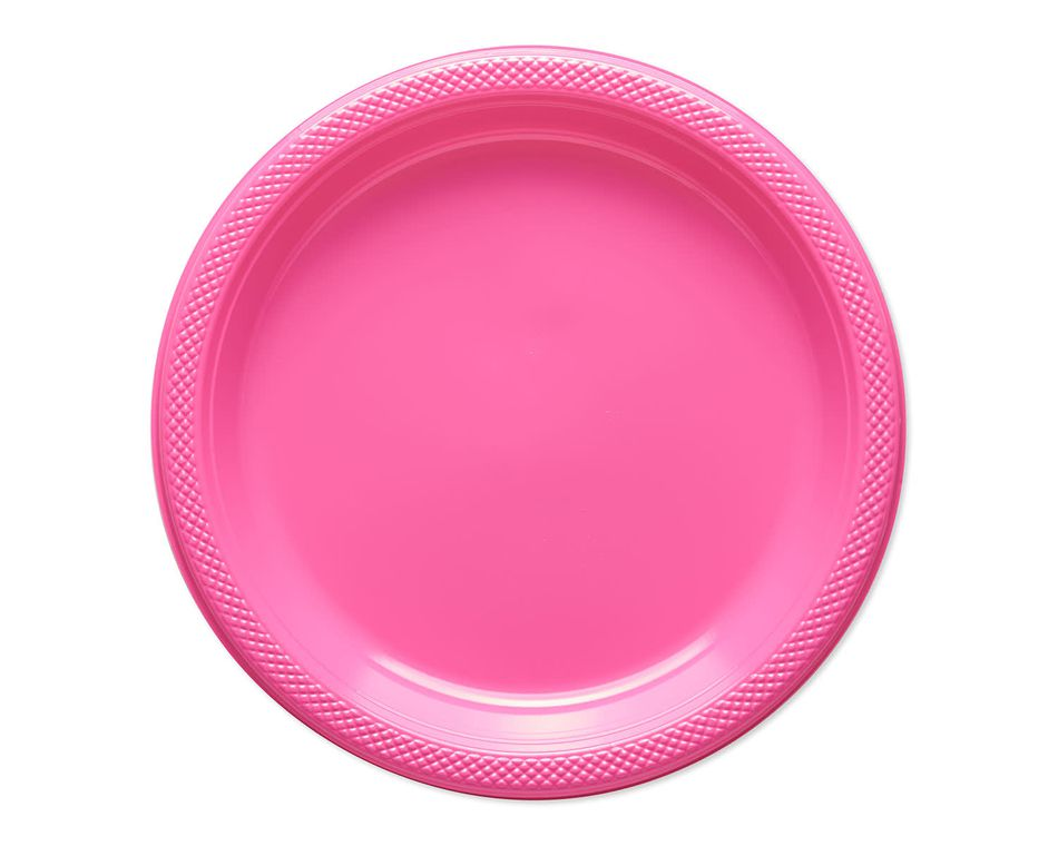 bright pink plastic dinner plates 20 ct