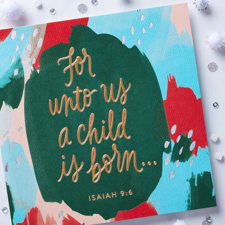 A Child is Born Religious Christmas Card