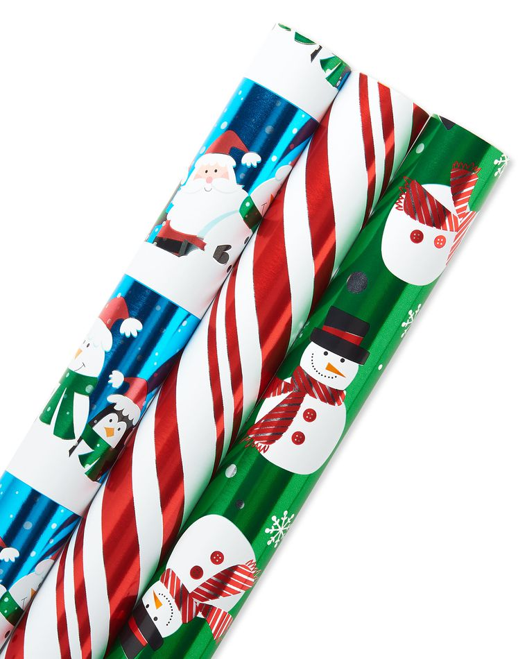 Christmas Foil Wrapping Paper with Gridlines, Santa and Friends, Candy Cane Stripe and Snowmen, 3-Roll, 30