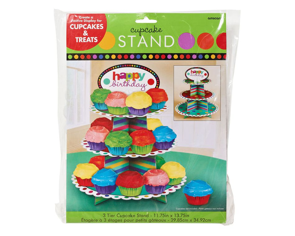 dots & stripes 3 tier cupcake stand