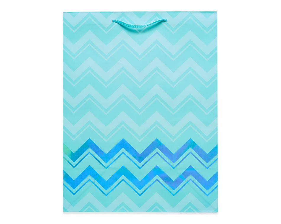 medium aqua chevron gift bag