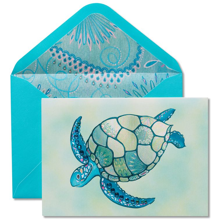 Mosaic Turtle Blank Greeting Card