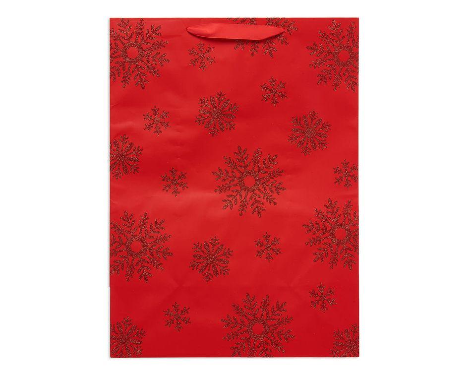 jumbo red snowflakes christmas gift bag