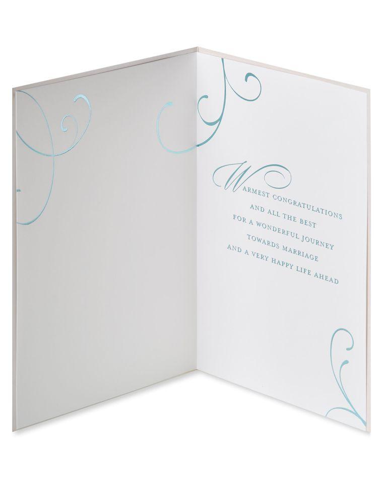 Blue Champagne Flute Wedding Greeting Card
