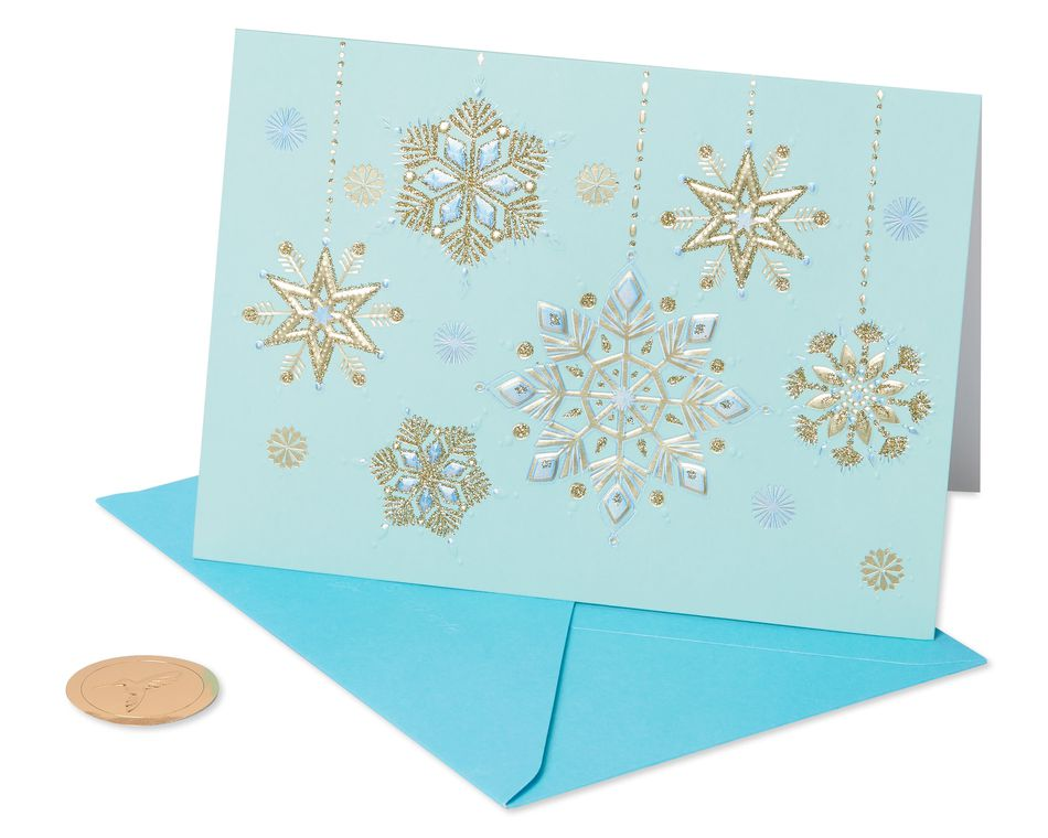Hanging Glitter Snowflakes Holiday Boxed Card, 12-Count