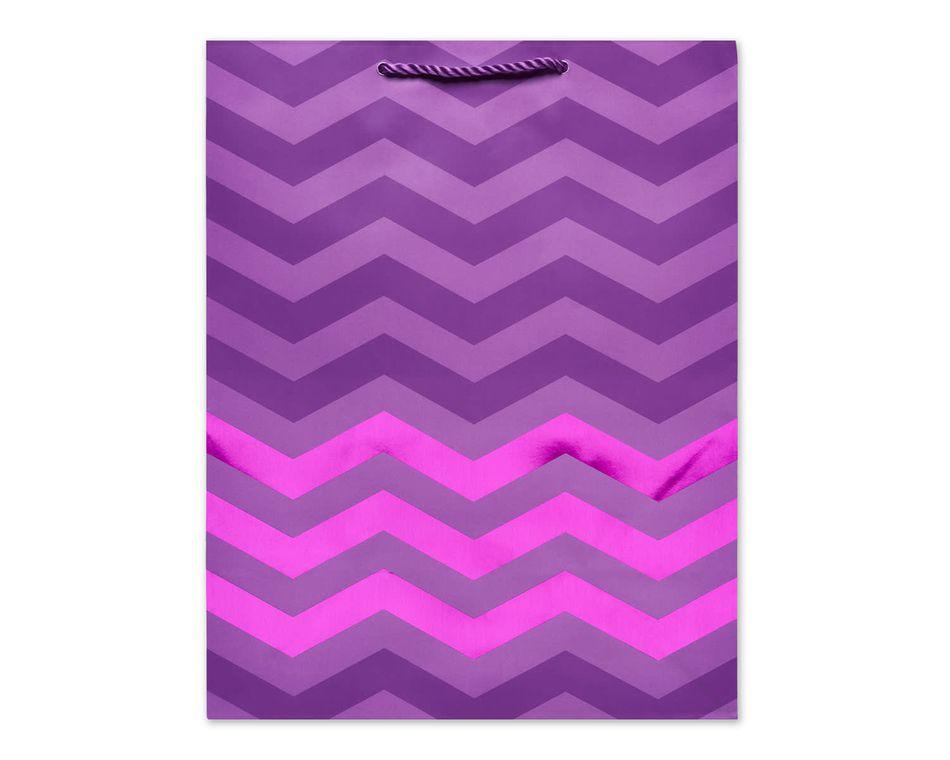 Medium Gift Bag, Purple Chevron
