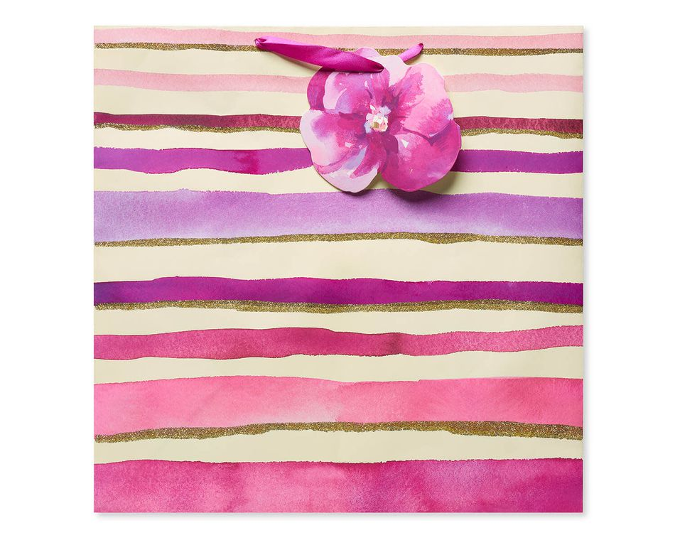 Extra-Large Purple and Pink Glitter Stripes Gift Bag