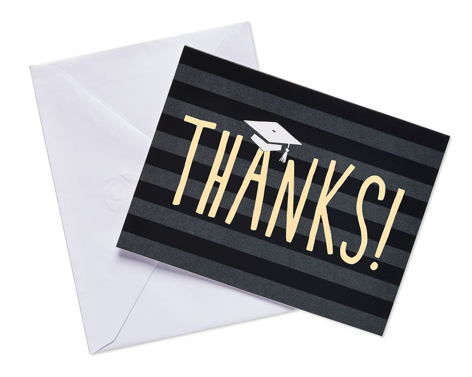 black striped grad thank-you notecards 25 ct