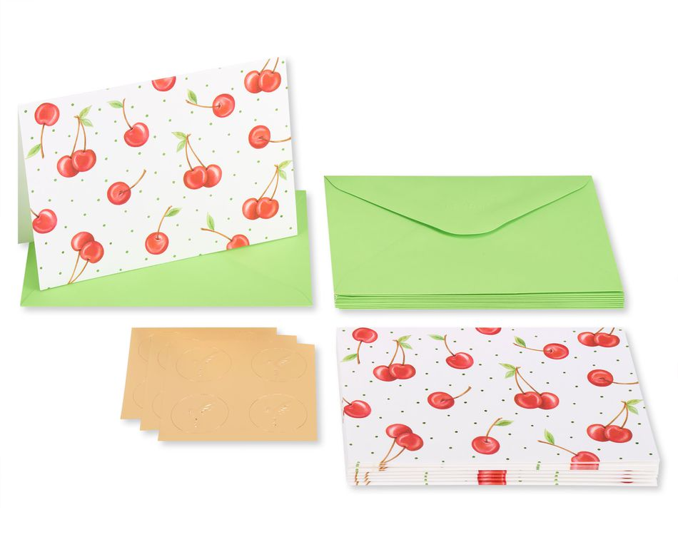 Cherries Boxed Blank Note Cards with Envelopes, 12-Count