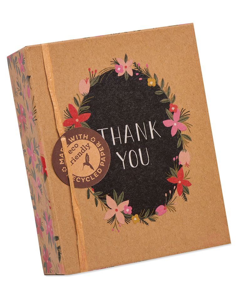 Floral Wreath Thank You Boxed Blank Note Cards with Envelopes, 16-Count