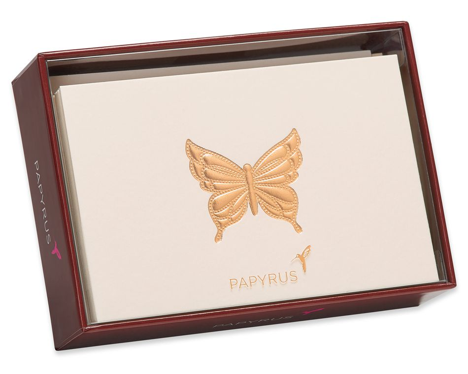 Gold Butterfly Boxed Blank Cards and Envelopes, 16-Count