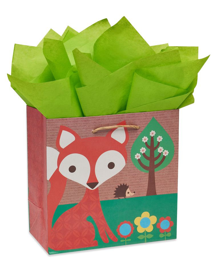 Eco Fox Medium Gift Bag with Retro Green Tissue Paper, 1 Gift Bag and 8 Sheets of Tissue Paper