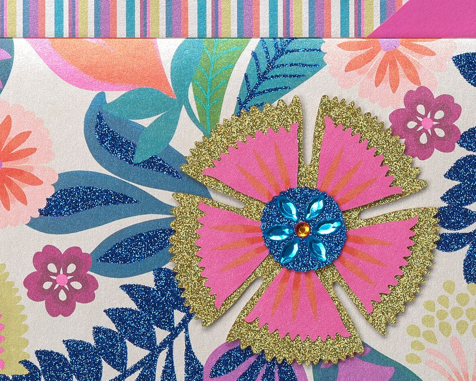 Bright Flowers Handmade Boxed Blank Note Cards with Glitter, 8-Count