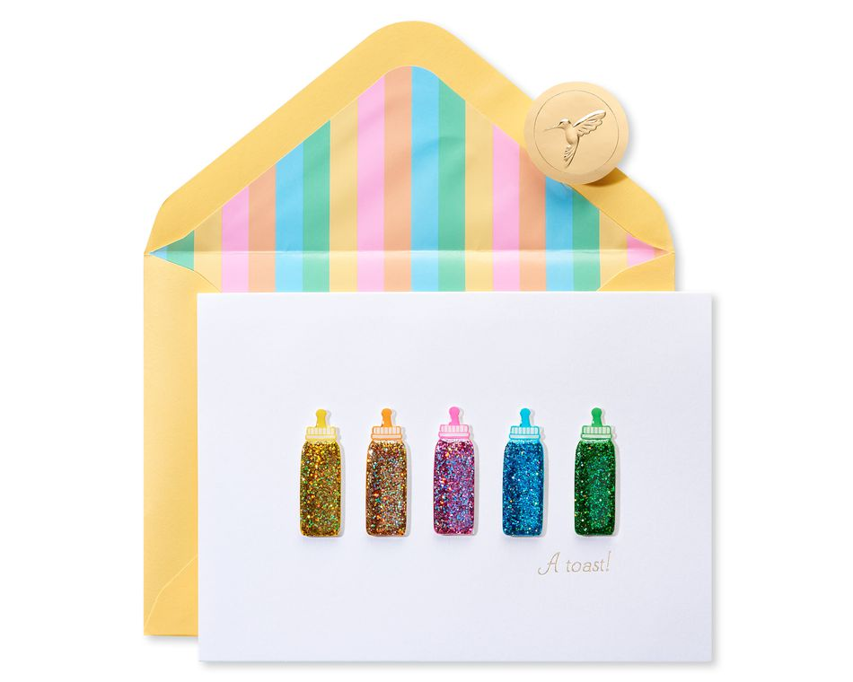 Baby Bottles New Baby Greeting Card