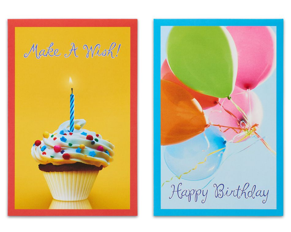 Balloons and Candles Assorted Birthday Cards and Envelopes, 12-Count