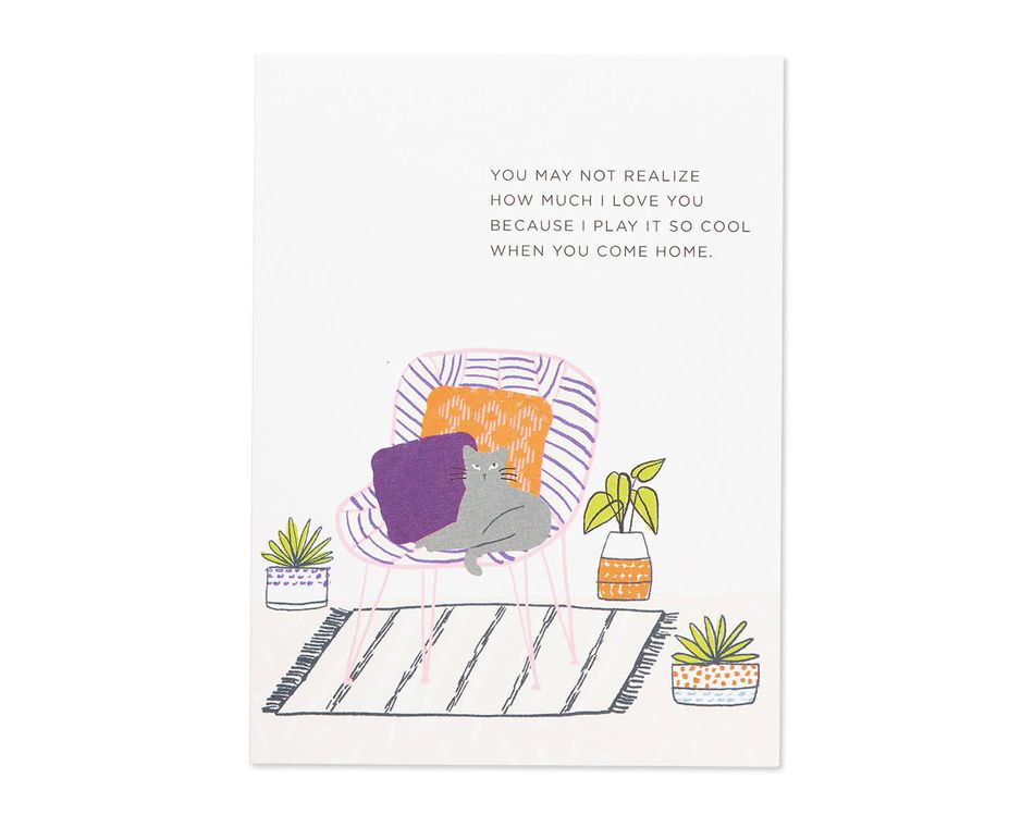 play it cool valentine's day card from cat