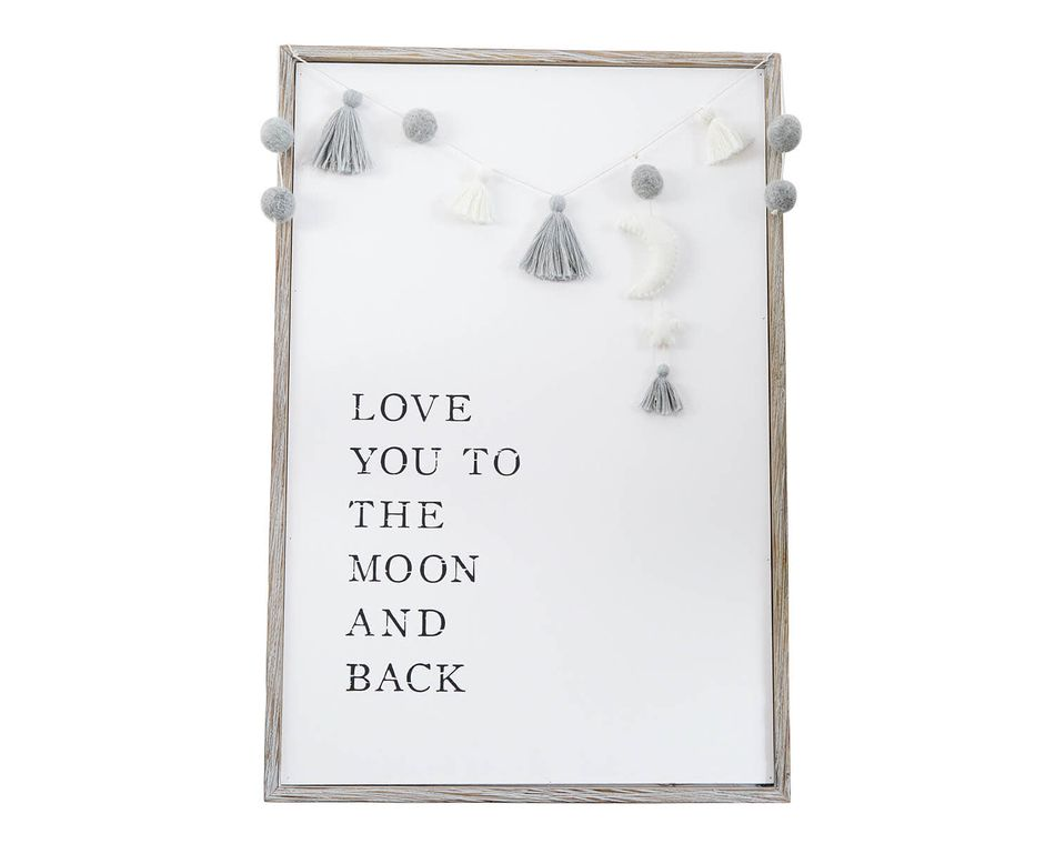 Mud Pie Pom Tassel Moon Plaque
