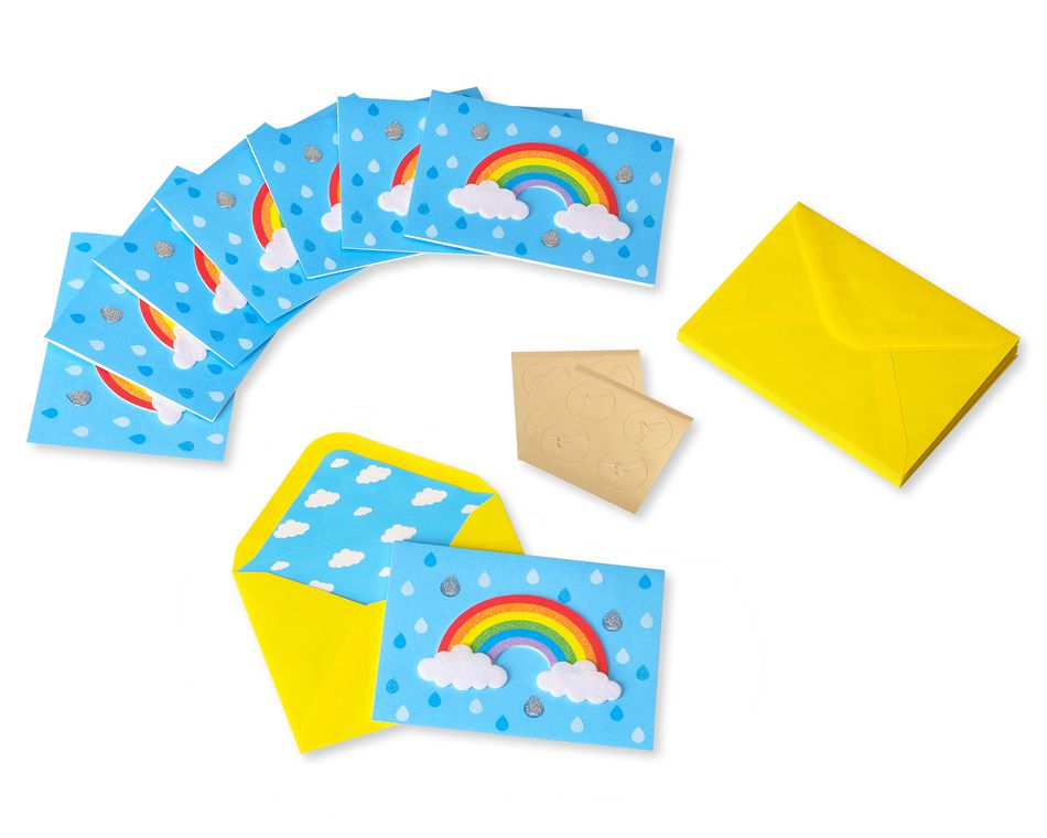 Rainbow Handmade Boxed Blank Note Cards with Glitter, 8-Count