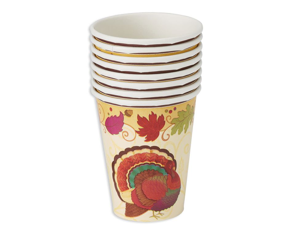 thanksgiving holiday 9-oz. paper cups, 8 ct.