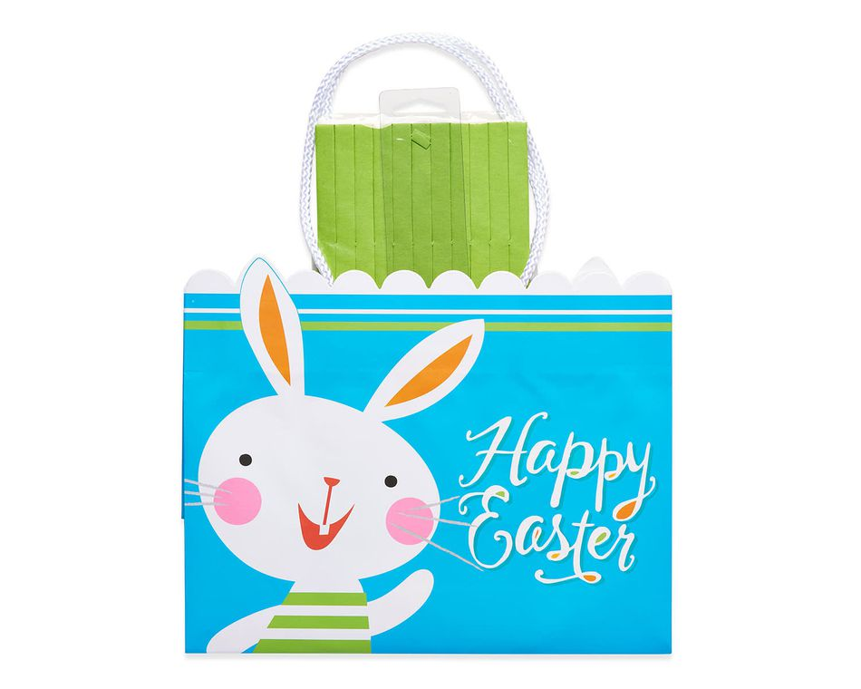medium happy easter bunny gift bag with tissue shred