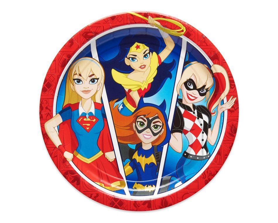 DC Super Hero Girls Dinner Round Plate, 8 Count