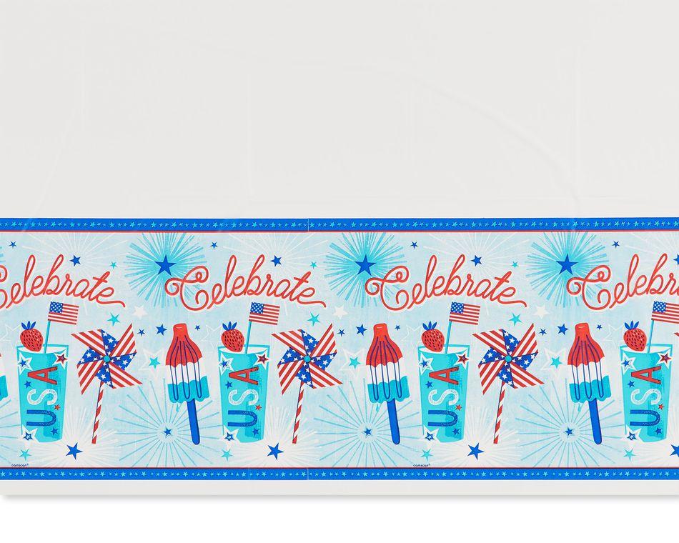 Patriotic Plastic Table Cover, 54