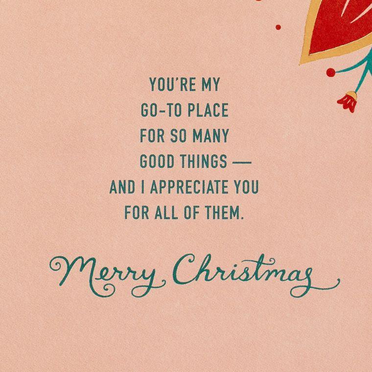 Grateful For You Christmas Card for Mom